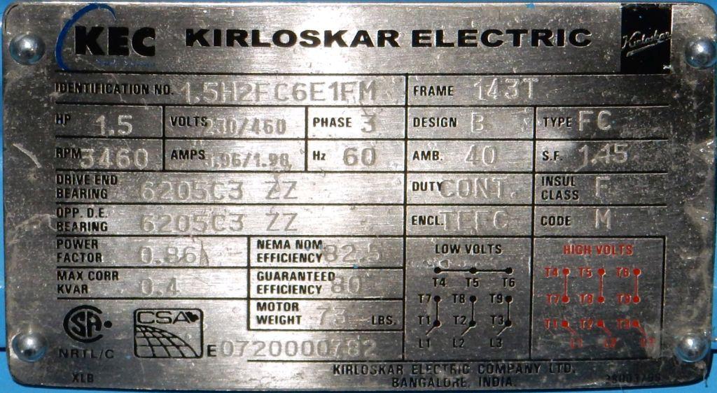 Kec 1 5h2fc6e1fm 1 5 Hp 3600 Rpm 230 460 Volts Tefc
