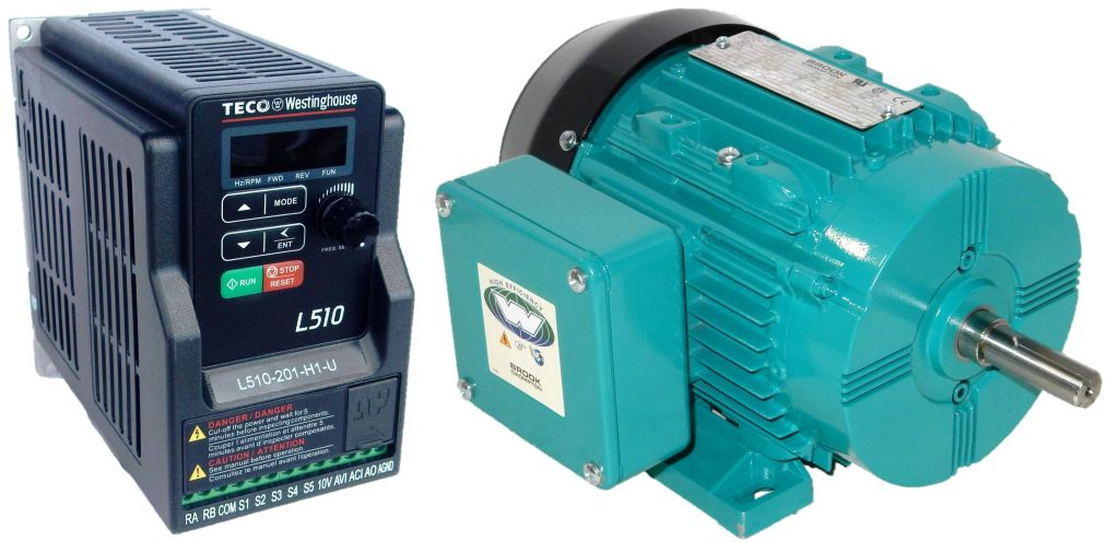 0 75 Hp  1800 Rpm  Brook Motor With 1 Hp  230 Volts  Teco