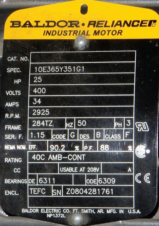 Baldor  10e365y351g1  25 Hp  3000 Rpm  400 Volts  Tefc