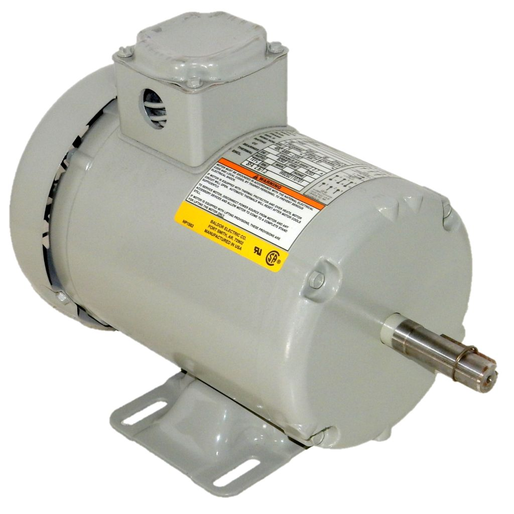 Baldor, H3M9101T, 0 5 HP, 3600 RPM, 200/230/460 Volts, 3 Phase, TEFC, 56  Frame, F3, Electric Motor