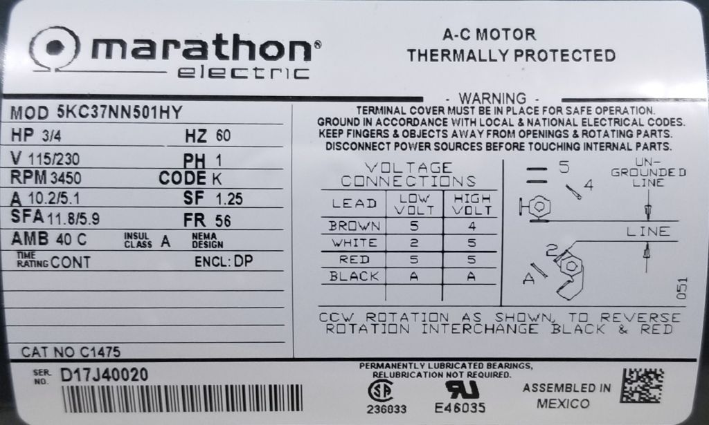 Marathon C1475 75 Hp 3450 Rpm 115, Marathon Electric Motors Wiring Diagram