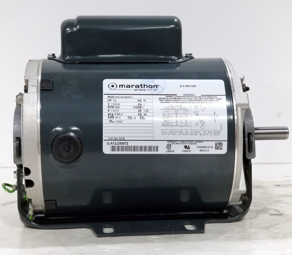 Marathon C219 5 Hp 3450 Rpm 115 230 Volts Odp 48 New Surplus Jet Pump Motor Wiring Diagram Dealers Industrial