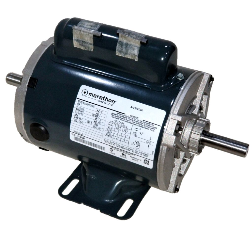 Marathon c449 1 hp 3600 rpm 115 230 volts odp 56z for Double ended shaft electric motor