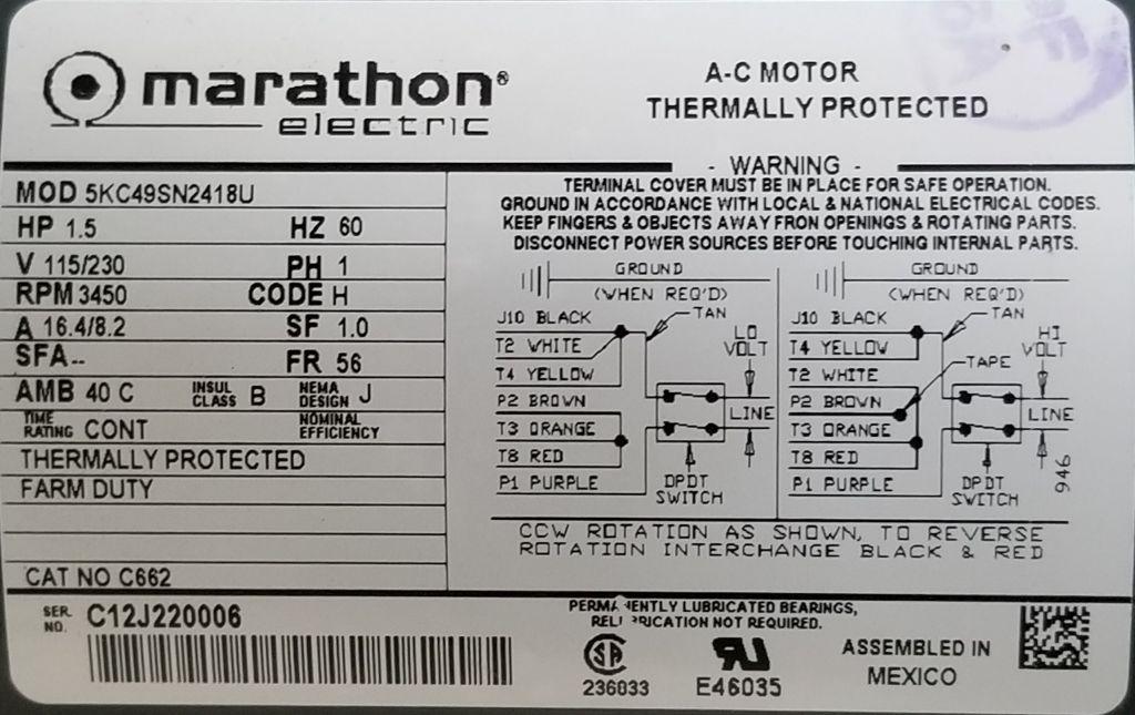 Marathon C662 1 5 Hp 3450 Rpm 115 230 Volts Tefc 56 New Surplus Electric Motor At Dealers Industrial