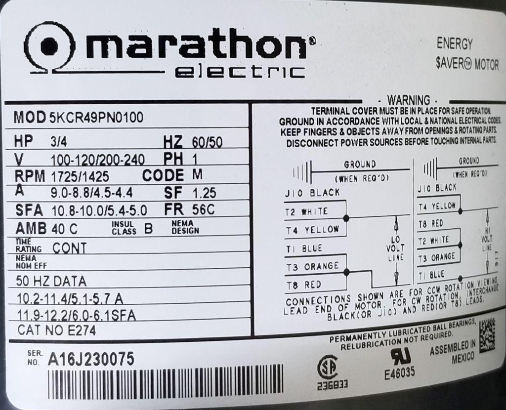 Marathon e274 75 hp 1725 1425 rpm 100 120 200 240 for Facts about electric motors