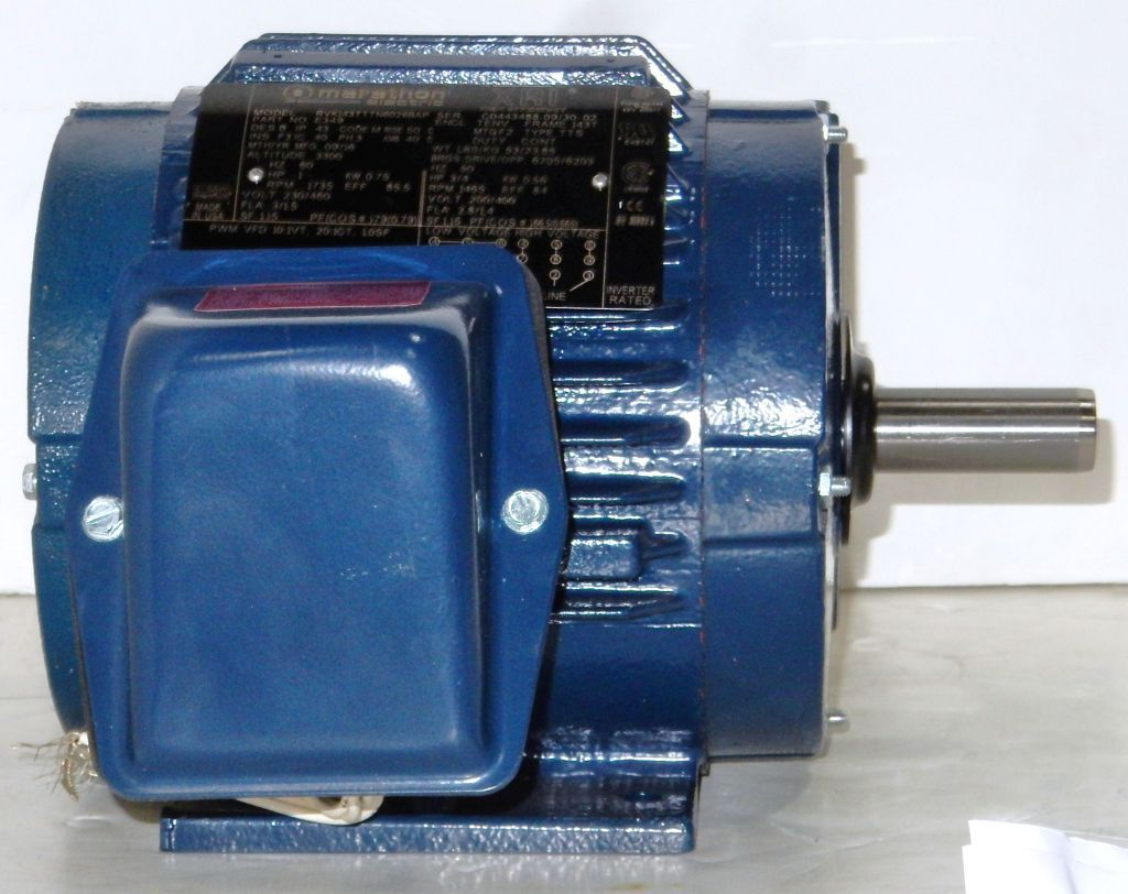 Marathon, E349 , 1 HP, 1800 RPM, 230/460 Volts, TENV, 143T, New ...