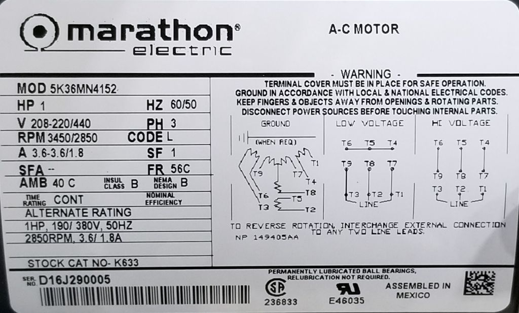 Marathon, K633, 1 HP, 3450/2850 RPM, 208-223/440 Volts, TEFC, 56C, New  Surplus Electric Motor at Dealers Industrial