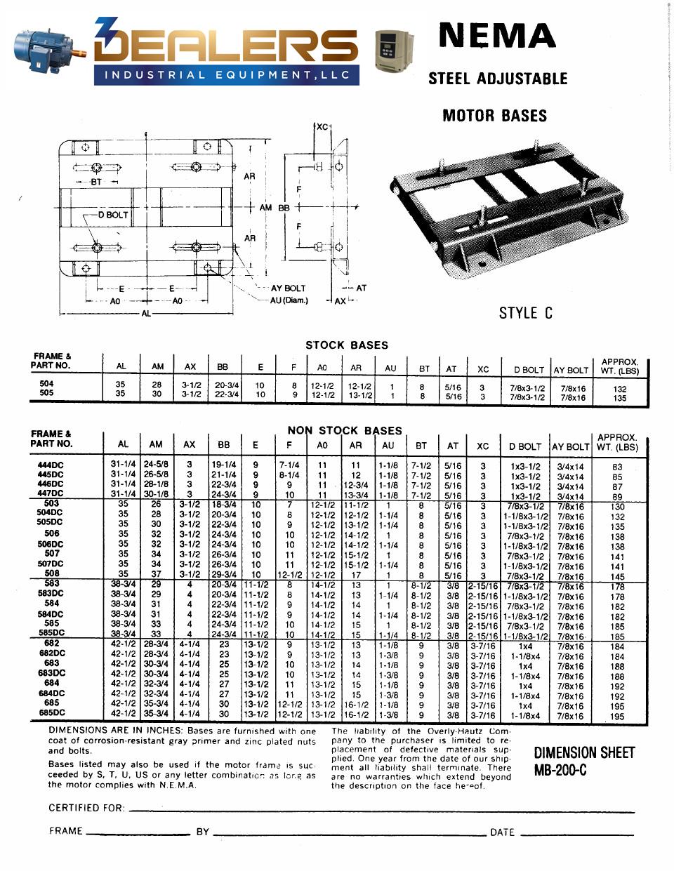 Adjustable Motor Base Dimensions