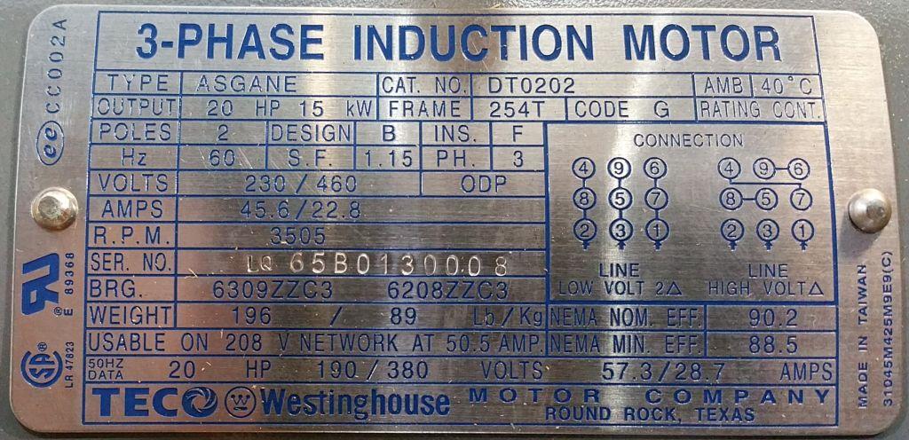 Teco Westinghouse Dt0202 20 Hp 3600 Rpm 230 460 Volts