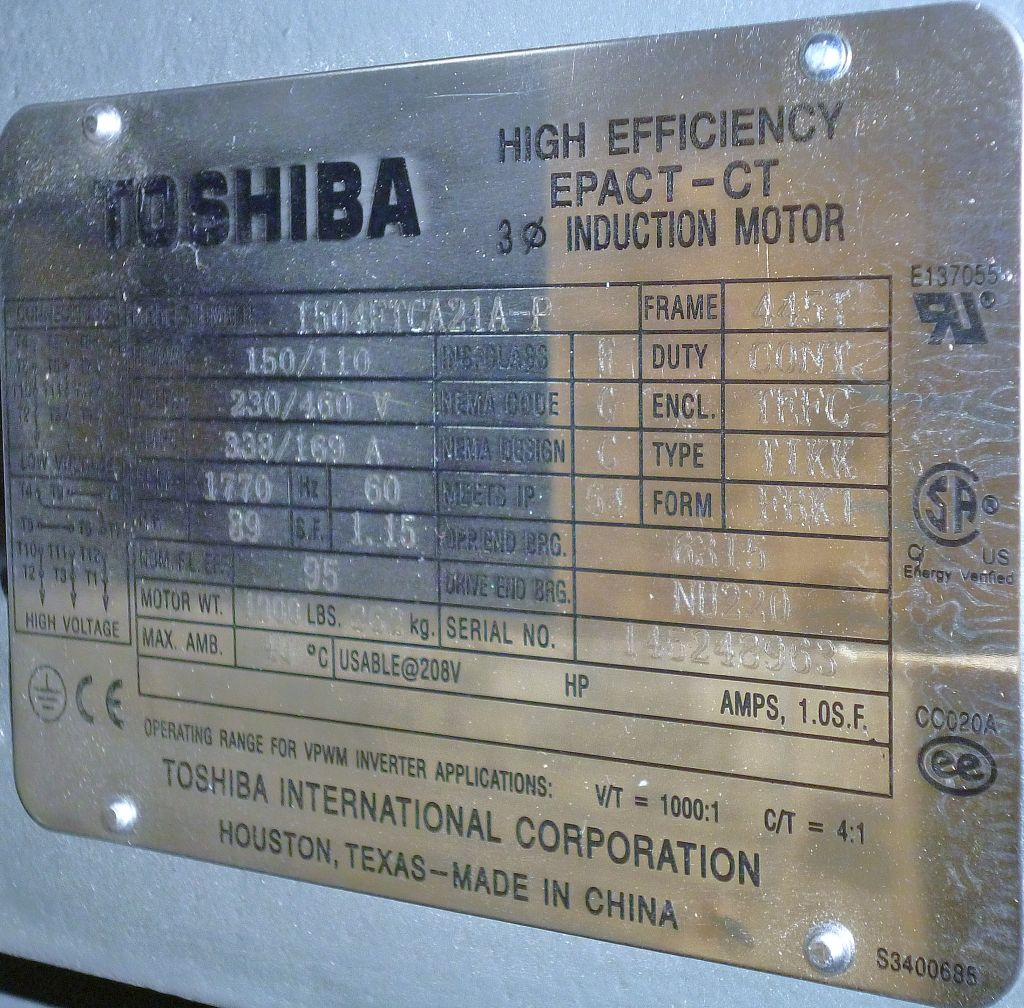 Toshiba, 1504FTCA21A-P, 150 HP, 1800 RPM, 230/460 Volts, 3 PH, TEFC, 445T, New Surplus Electric Motor at Dealers Industrial