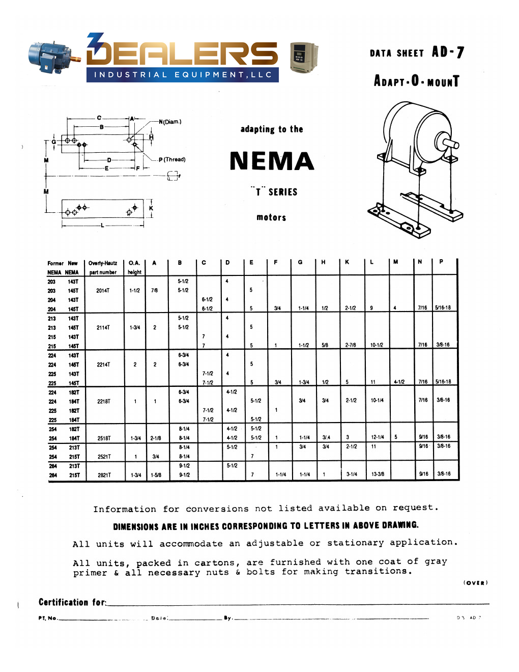 original frame to t frame former nema frame sizes 203 284