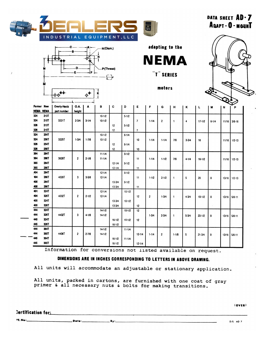 original frame to t frame former nema frame sizes 324 445