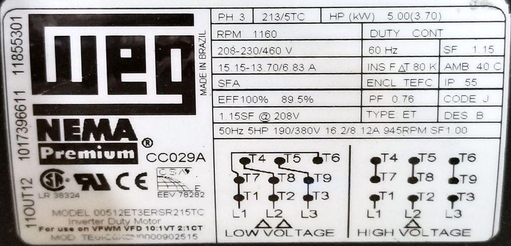 00512ET3ERSR215TC_Nameplate Weg Single Phase Motor Wiring Diagram on leeson single phase wiring diagram, reliance single phase wiring diagram, ao smith single phase wiring diagram,