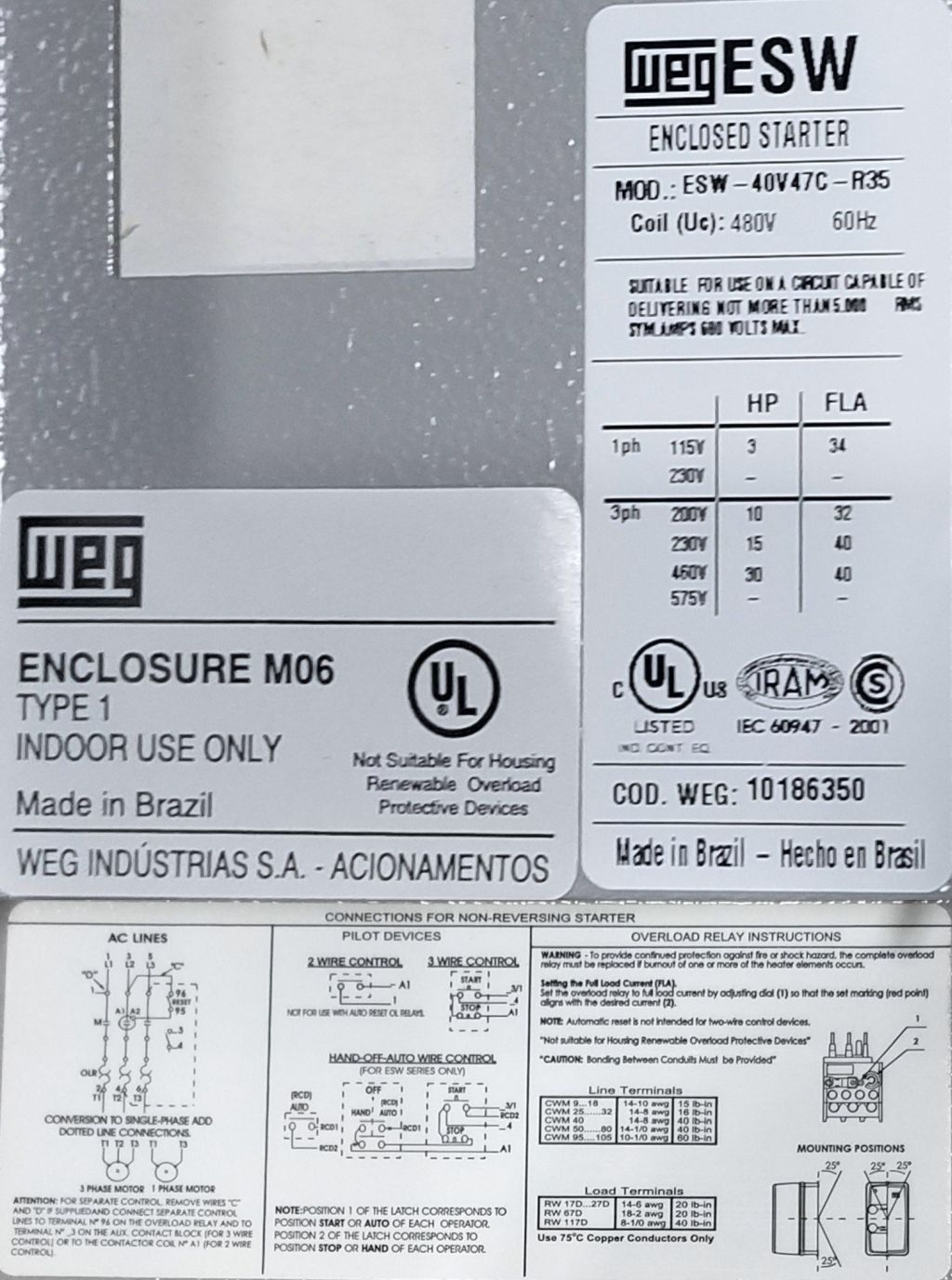 WEG, ESW-40V47C-R35, 25 HP, 460 Volts, 3 Phase, NEMA 1, Electric ...