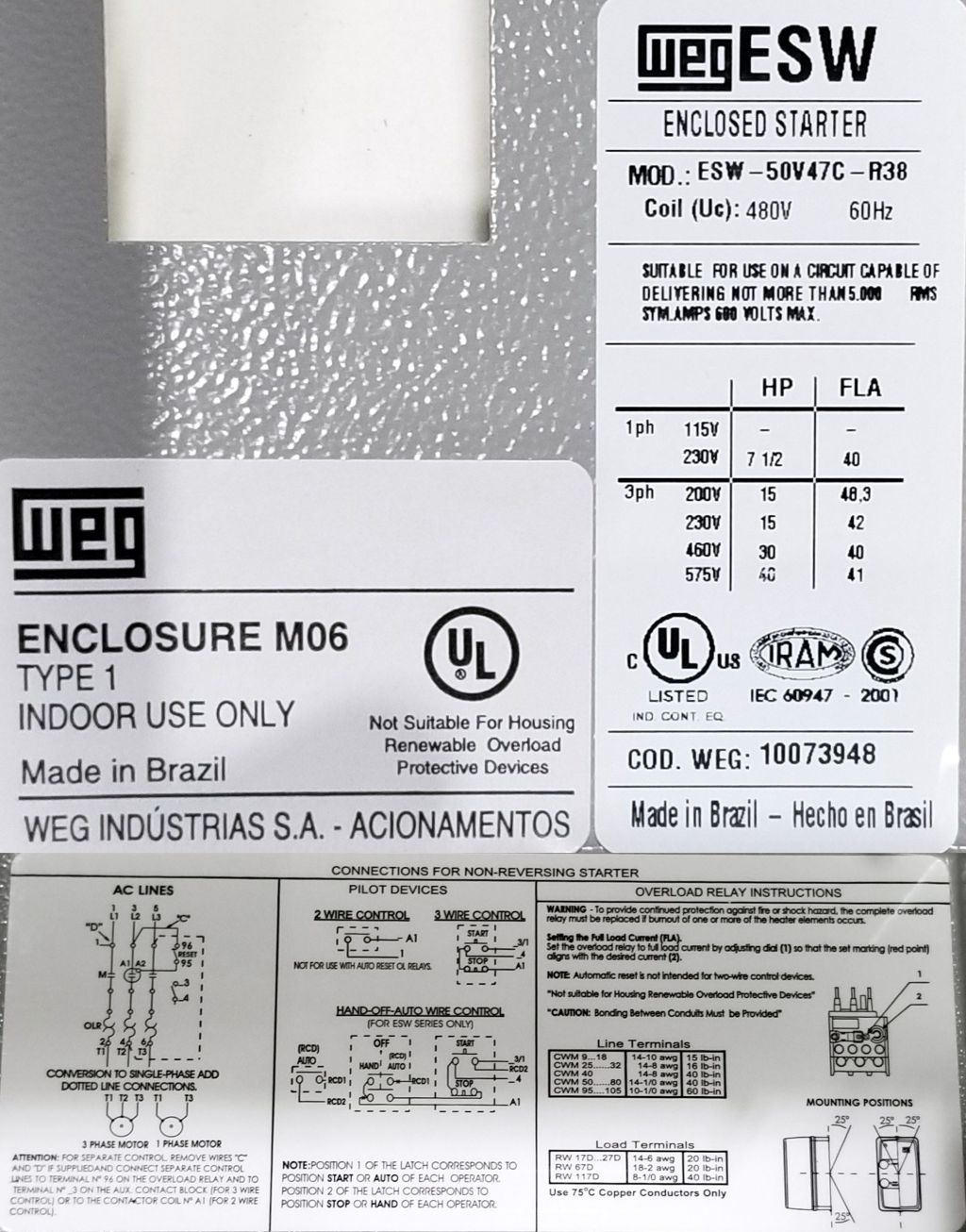 WEG, ESW-50V47C-R38, 30 HP, 460 Volts, 3 Phase, NEMA 1, Electric ...