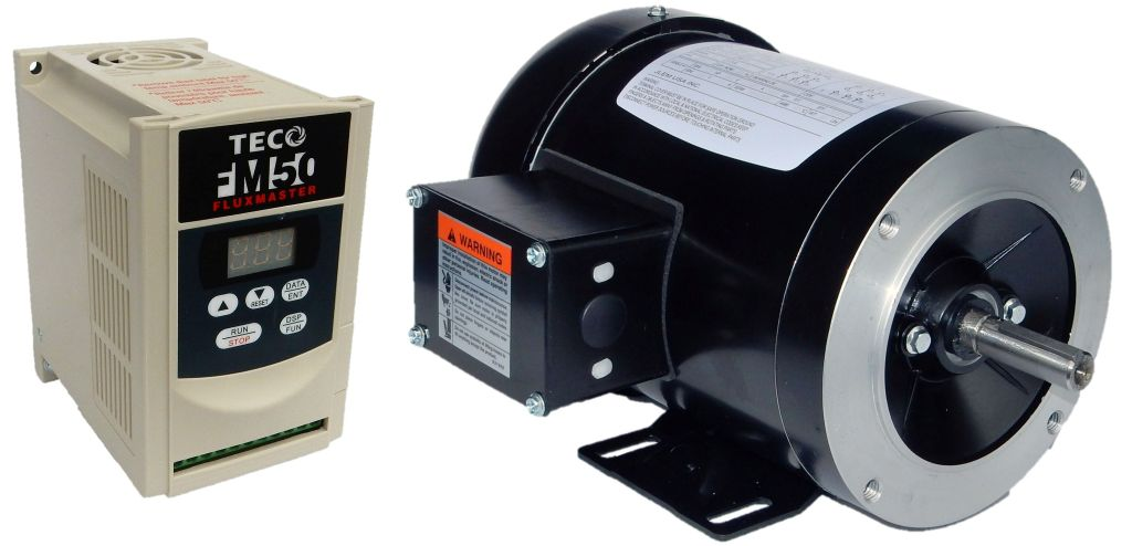 1 hp 1800 rpm jlem motor with 1 hp 115 volts teco vfd for Vfd for 1hp motor