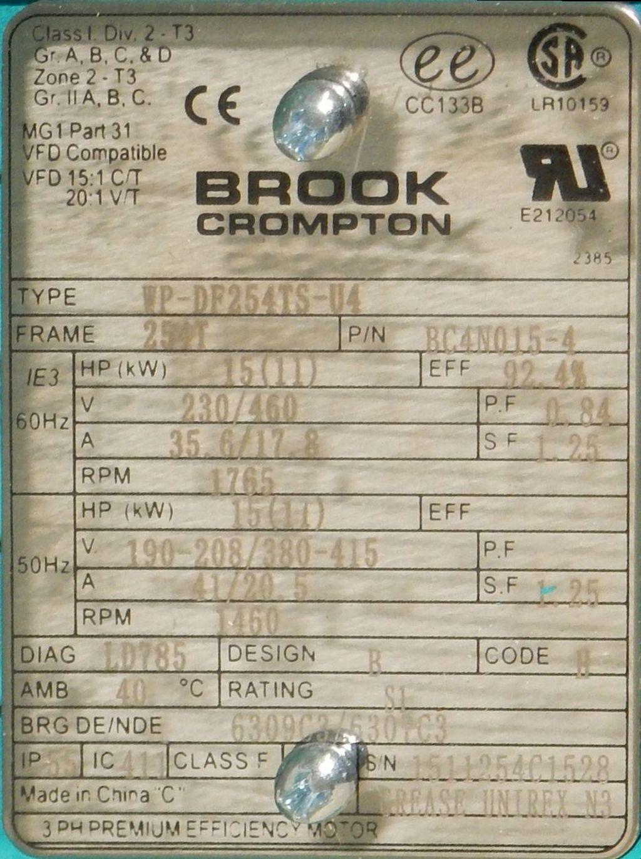Brook Crompton Bc4n015 4 15 Hp Tefc Factory New Motor At Dealers Wiring Diagrams Industrial